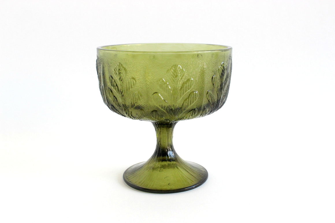 Green Glass Pedestal Bowl, Candy Dish