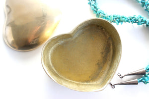 Solid Brass Keepsake Box, Heart Shaped Jewelry Box