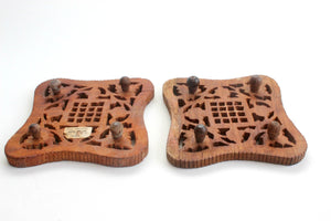 Hand Carved Wooden Trivets, Bohemian Style, Kitchen Decor