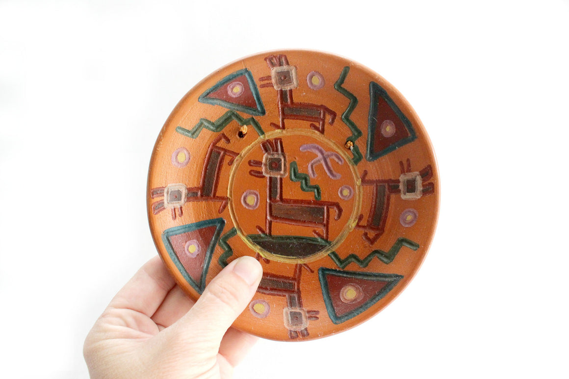 Decorative Terracotta Plate, Clay Wall Hanging, Made in Cusco Peru