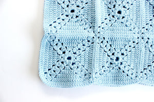 Hand Knit Baby Blanket, Baby Changing Pad, Blue Nursery Decor