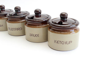 Vintage Stoneware Condiment Servers, Ceramic Sauce Dishes