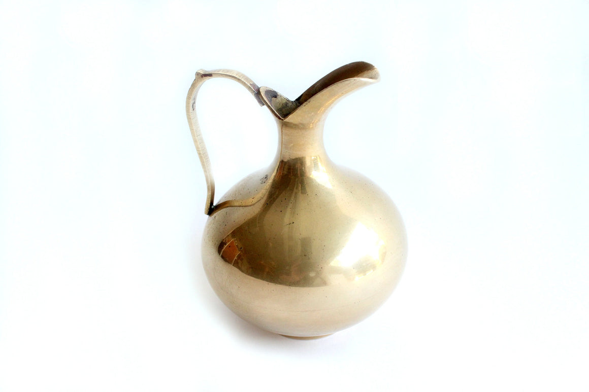 Small Solid Brass Pitcher, Vintage Bud Vase