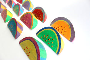 Hand Painted Wooden Watermelon Slices, Decorative Fruit