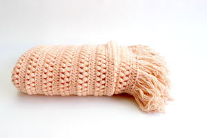 Vintage Knit Blanket, Blush Pink Throw