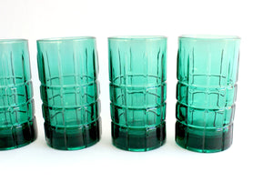 Vintage Anchor Hocking Glassware, Green High Ball Glasses