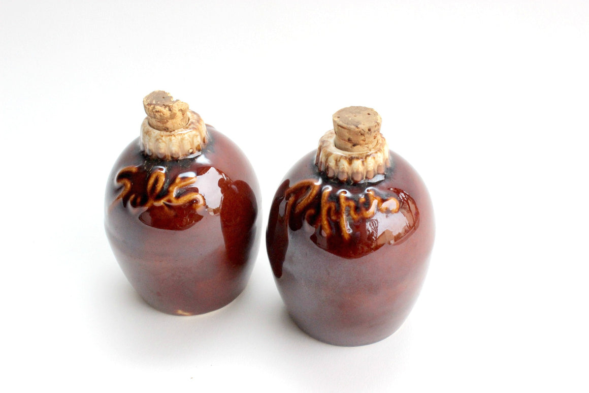 Stoneware Salt & Pepper Shakers, Vintage Kitchen Ware