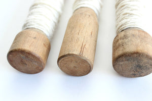 Vintage Wooden Yarn Spools, White String, Craft Supply