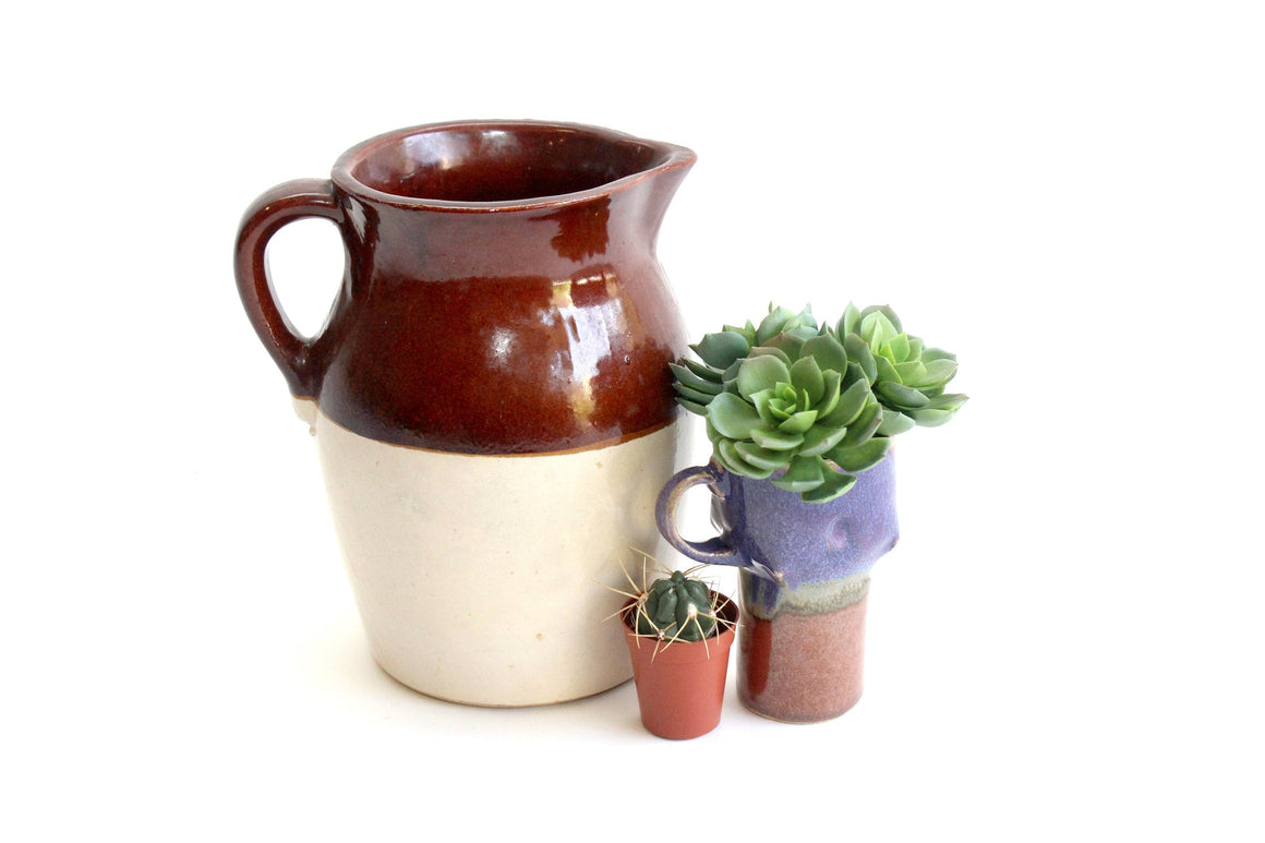 Large Stoneware Pitcher, Farmhouse Style Kitchen Decor