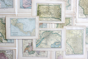 Vintage Map Prints, Pages from The Literary Digest 1927 Atlas of the World and Gazetteer