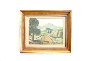 Original Landscape Painting, Framed Acrylic on Canvas, Vintage Artwork