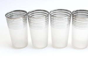Mid Century Modern Cocktail Tumblers, Frosted Drinking Glasses, Vintage Barware