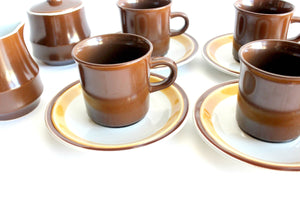 Vintage 1970s Stoneware Coffee Cups, Saucers, Creamer, & Sugar Dish
