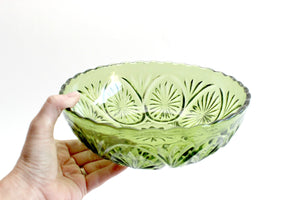 Vintage Green Glass Bowl, Pressed Glass Serving Bowl, Mid Century Servingware