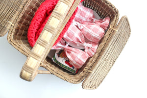 Vintage Picnic Basket, Wine & Cheese Picnic Set, 28 Piece Collection