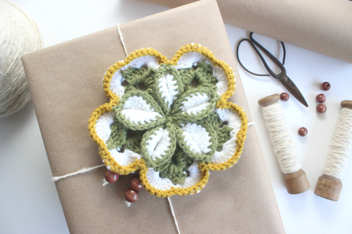Knit Doily, Gift Wrap Topper, Craft Supply