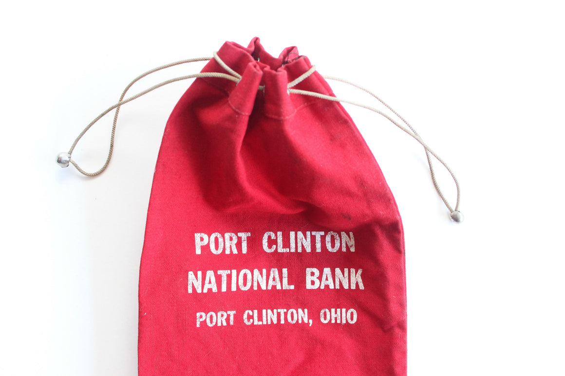 Vintage Canvas Money Bag, Port Clinton National Bank Bag, Gift Card/Money Holder