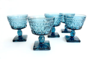 Vintage Blue Glassware, Ice Cream Bowls, Pedestal Cups