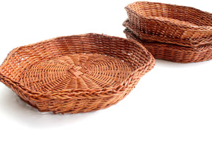 Vintage Wicker Plate Chargers, Natural Woven Plate Holders