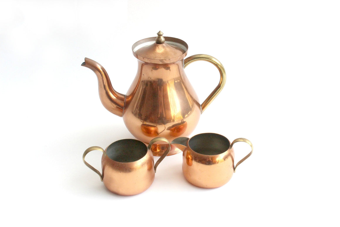 Vintage Copper Tea Set, Teapot, Creamer & Sugar Dish
