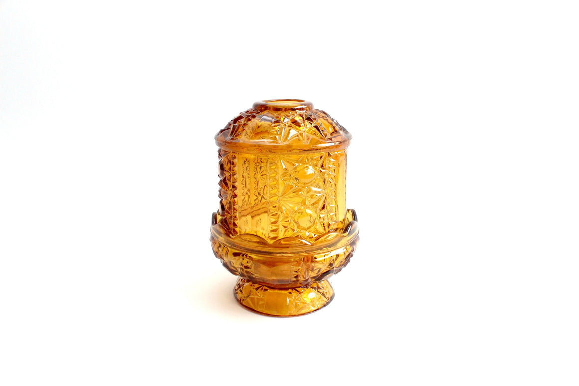Vintage Glass Candle Dome, Amber Glass Fairy Lamp