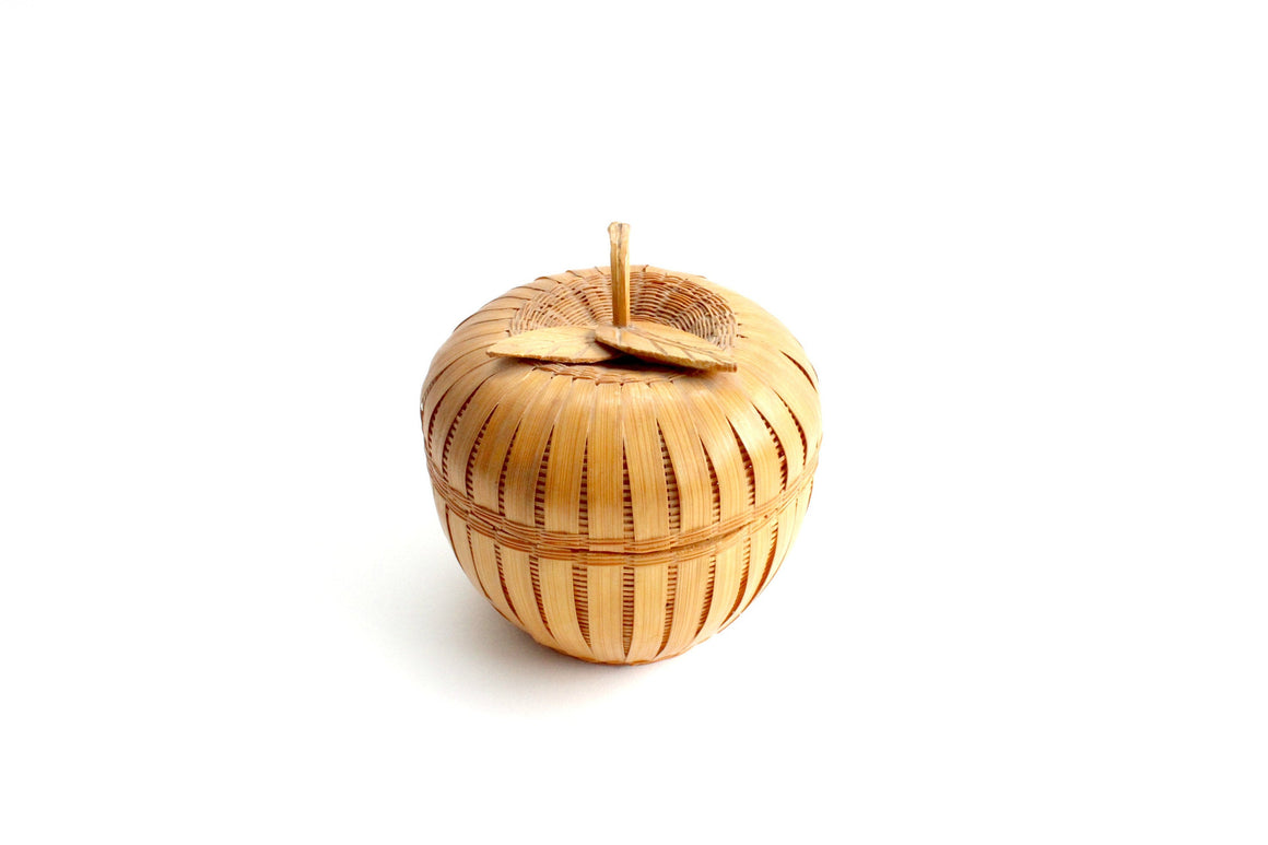 Vintage Apple Shaped Basket Container, Decorative Woven Basket Bowl