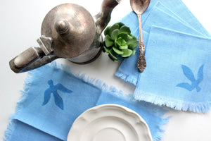 Vintage Handmade Cotton Napkins, Set of 6 Blue Cloth Napkins