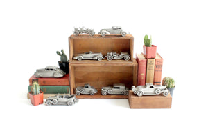 Vintage Pewter Car Figurines, Automobile Collectible Figurines, Boys Room Decor, Stocking Stuffer Idea