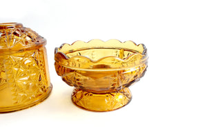 Vintage Glass Candle Dome, Amber Glass Candle Holder, Mid Century Home Decor