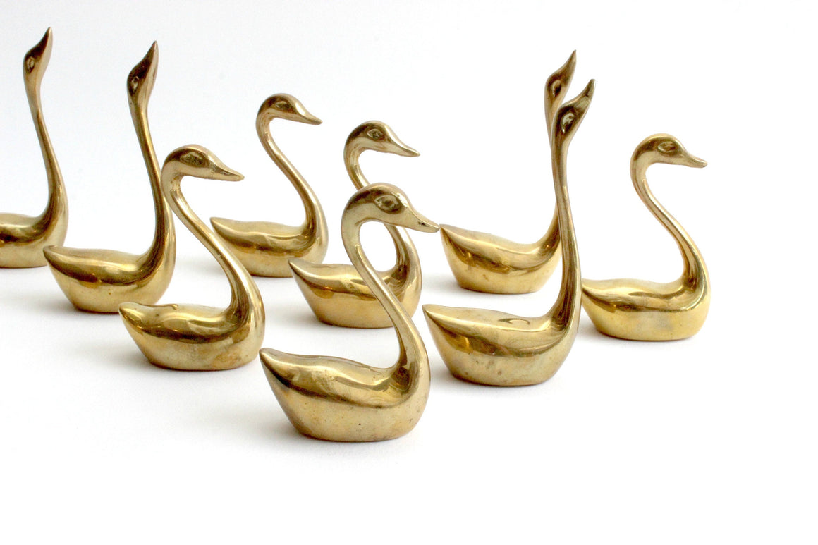 Brass Swan Ring Holders, Bird Figurine, Stocking Stuffer