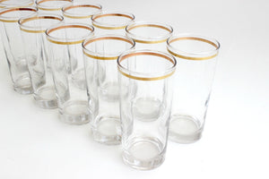 Vintage High Ball Glasses, Set of 11 - Mid Century Tumblers with Gold Trim, Water Glasses