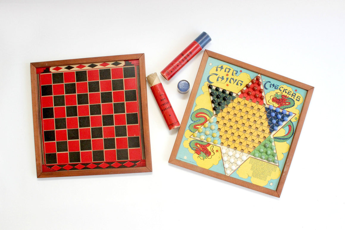 Vintage Board Game Assortment, Checkers, Backgammon, Hop-Ching Chinese Checkers, Michigan Pool