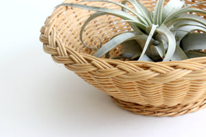 Vintage Wicker Basket Bowl, Natural Woven Fruit Bowl