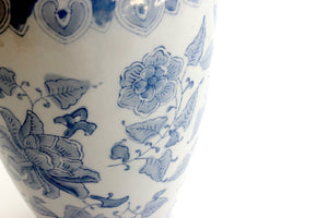 Vintage Blue & White Chinoiserie, Hand Painted Vase, Decorative Ceramic Pottery