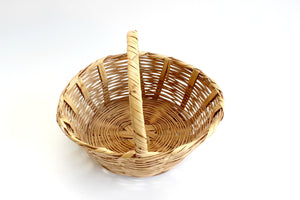Natural Woven Bamboo Basket, Farmer's Market Basket, Vintage Apple Picking Basket