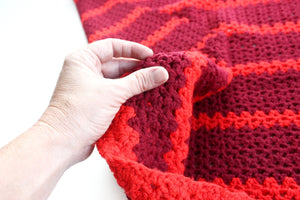 Vintage Knit Wool Baby Blanket, Maroon and Red Striped Blanket