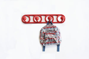 Vintage Red Wall Hook Rack, Kids Room Organization