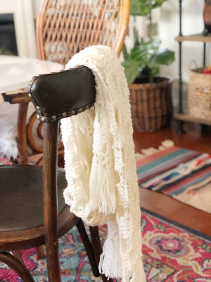 Vintage White Crochet Scarf, Knit Shoulder Wrap, Table Runner