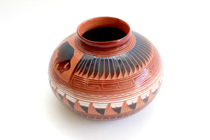 Native American Pottery, Signed Navajo Red Clay Pot
