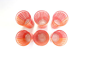Set of 6 Orange & Red Drinking Glasses, 1970's Modern Water Tumblers, Skinny High Ball Glasses