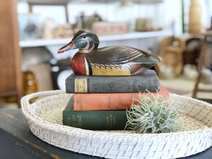 Vintage Cabin Decor, Hand Painted Mallard