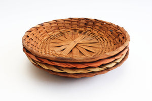 Vintage Woven Paper Plate Holders, Small Plate Chargers, Outdoor Dining Ware