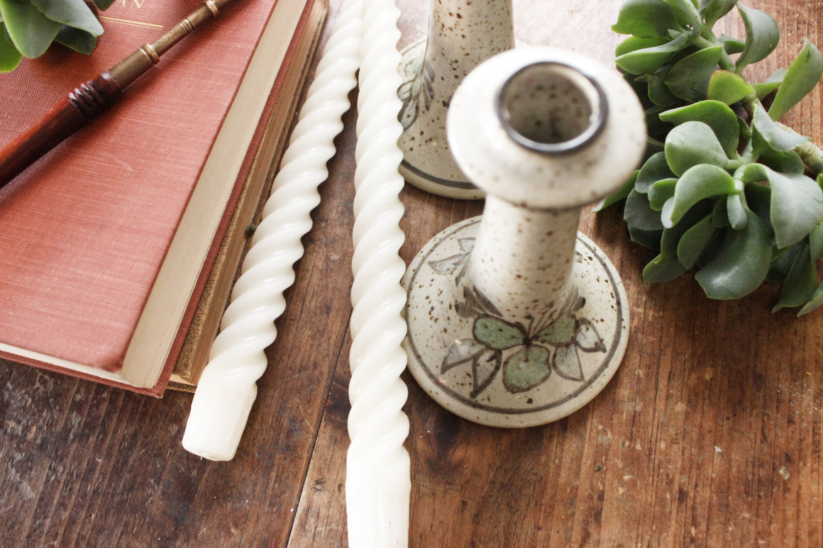 Stoneware Candlestick Holders, Boho Style Table/Mantel Decor,