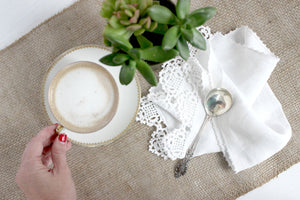 Hand Crocheted Tea Linen, White Tea Linen