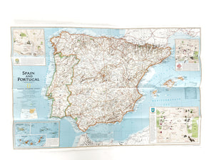 Map of Spain and Portugal, Vintage Poster Map