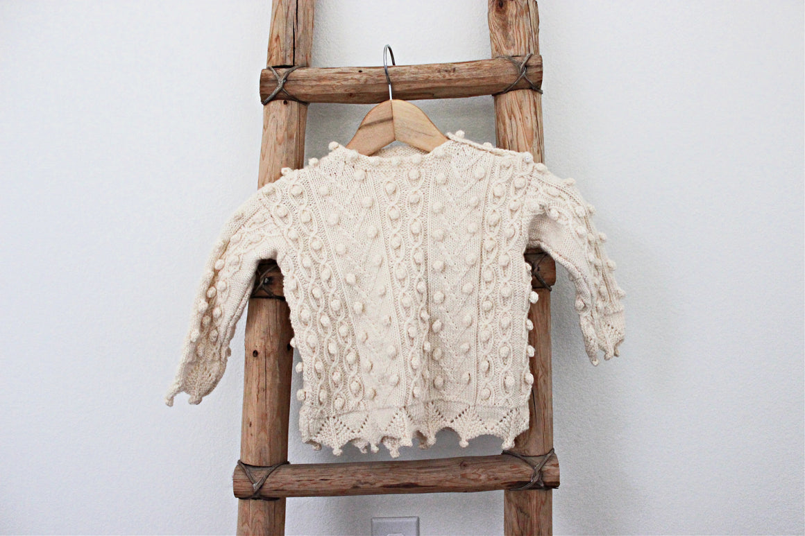 Hand Knit Child's Sweater, Cream Colored Winter Sweater