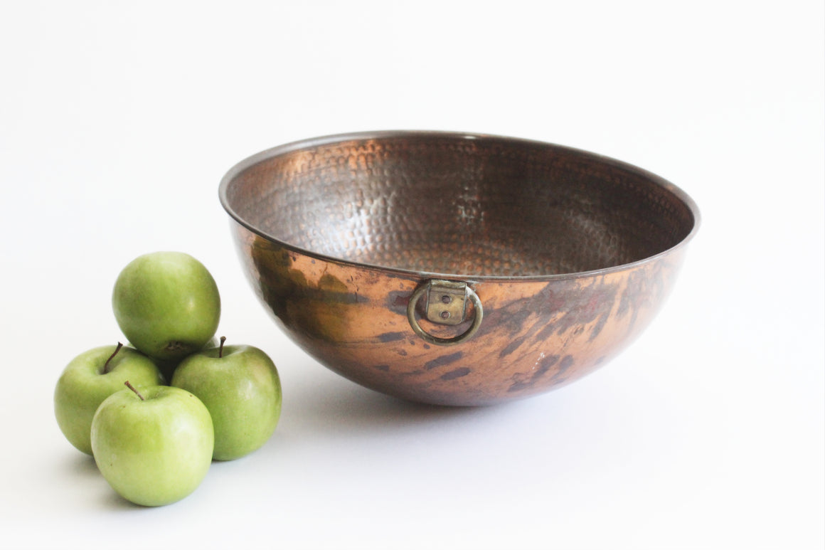 Hammered Copper Bowl, Vintage Copper Mixing Bowl