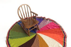 Vintage knit Blanket, Large Round Blanket, Colorful Pinwheel Floor Blanket