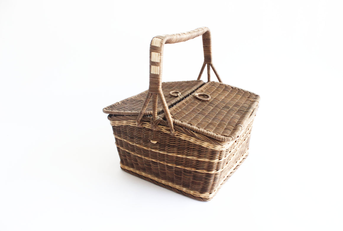 Vintage Picnic Basket, Large Rustic Wicker Basket with Handle