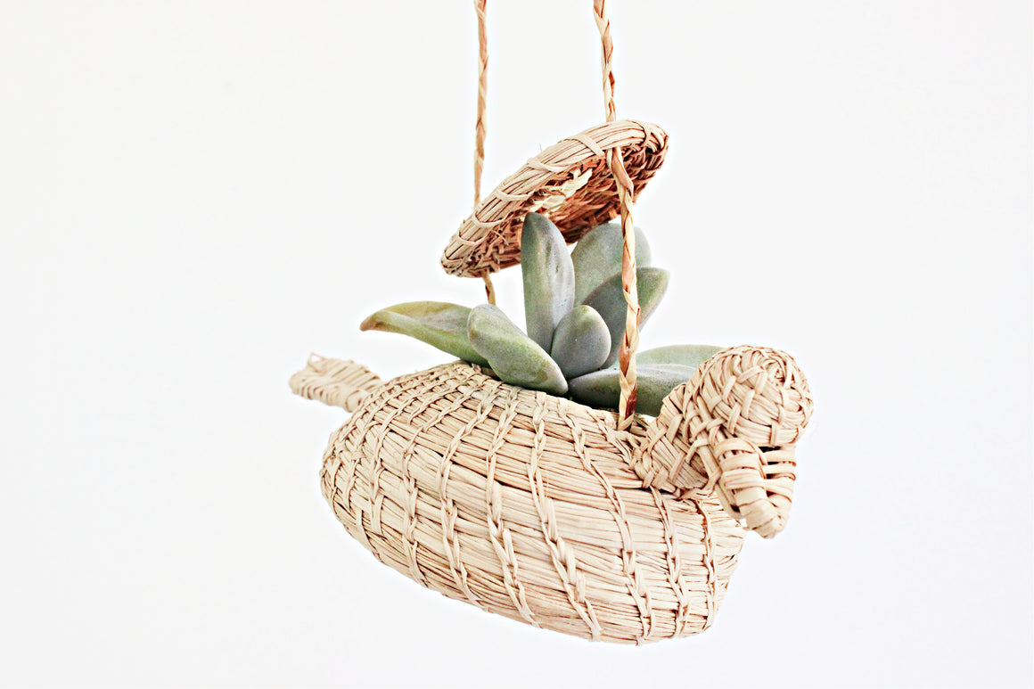 Hanging Bird Basket, Vintage Boho Home Decor, Small Air Plant Holder